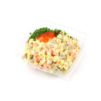 468. Russian salad with lightly salted salmon and red caviar