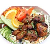Classic pork shashlik, cooked in Tandoor. Served with vegetables